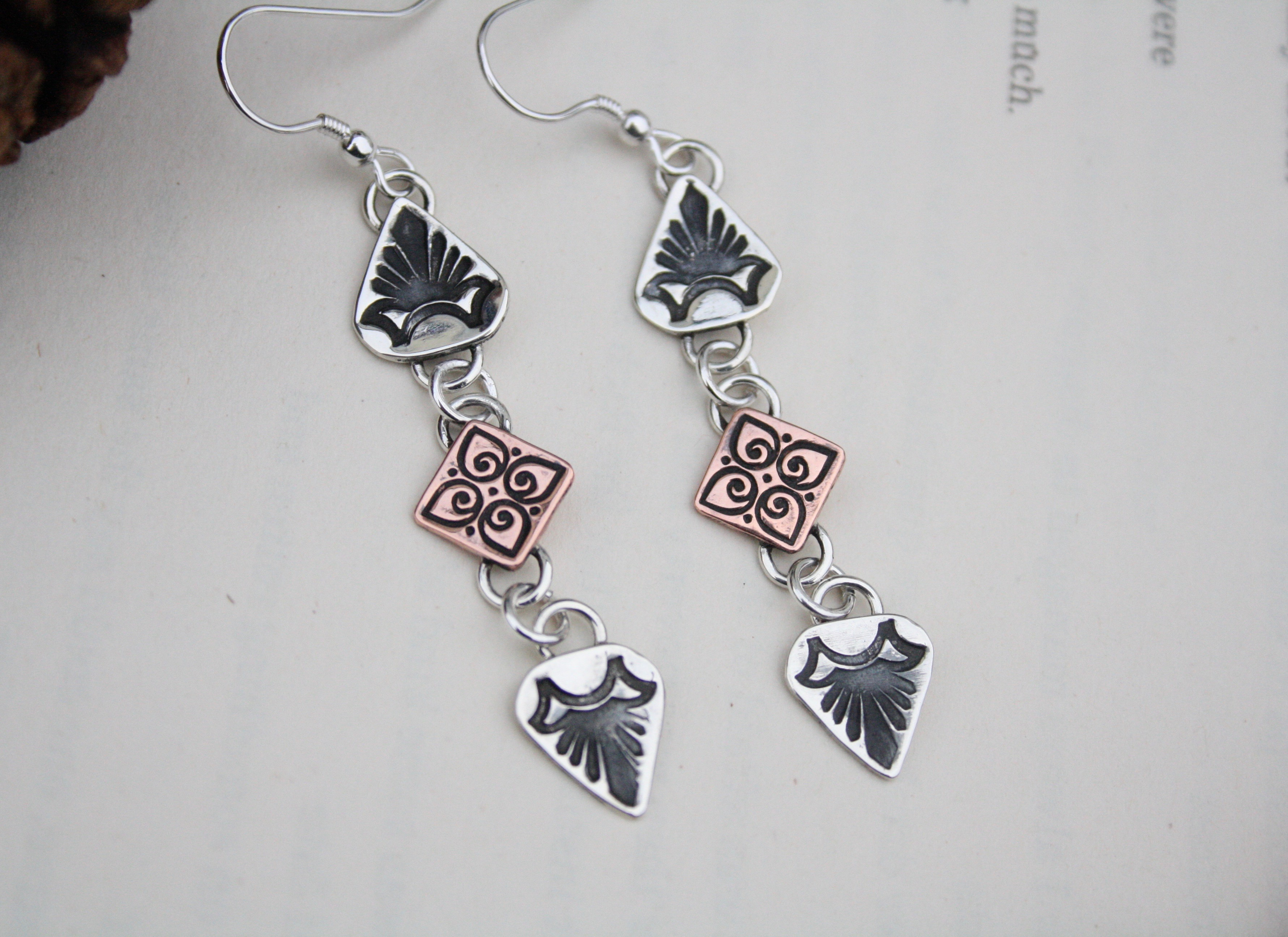Inner Truth - Sterling Silver and Copper Earrings