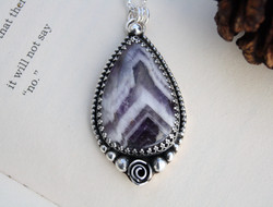 Amethyst Rose - Eco Silver and Copper Necklace