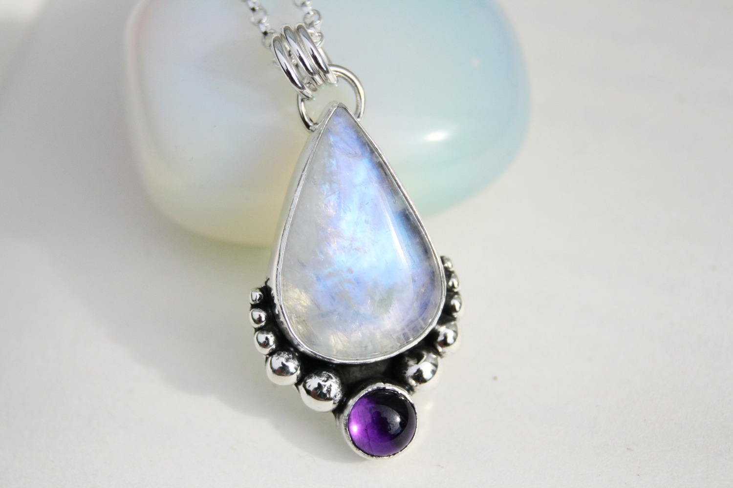Moonstone and Amethyst Necklace
