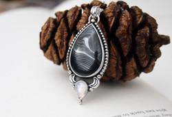Yin Yang - Psilomelane and Moonstone Necklace