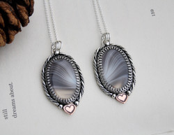 Quantum Entanglement - Botswana Agate - Pair of friendship/love/family necklaces