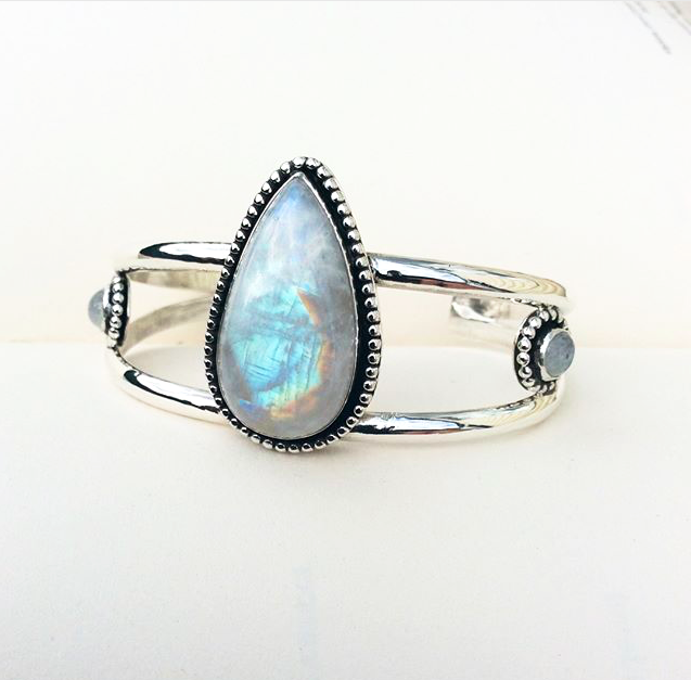 Moonstone Sterling Silver Bangle