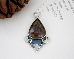 Hope Is On The Horizon - Pietersite Silver & Brass Necklace