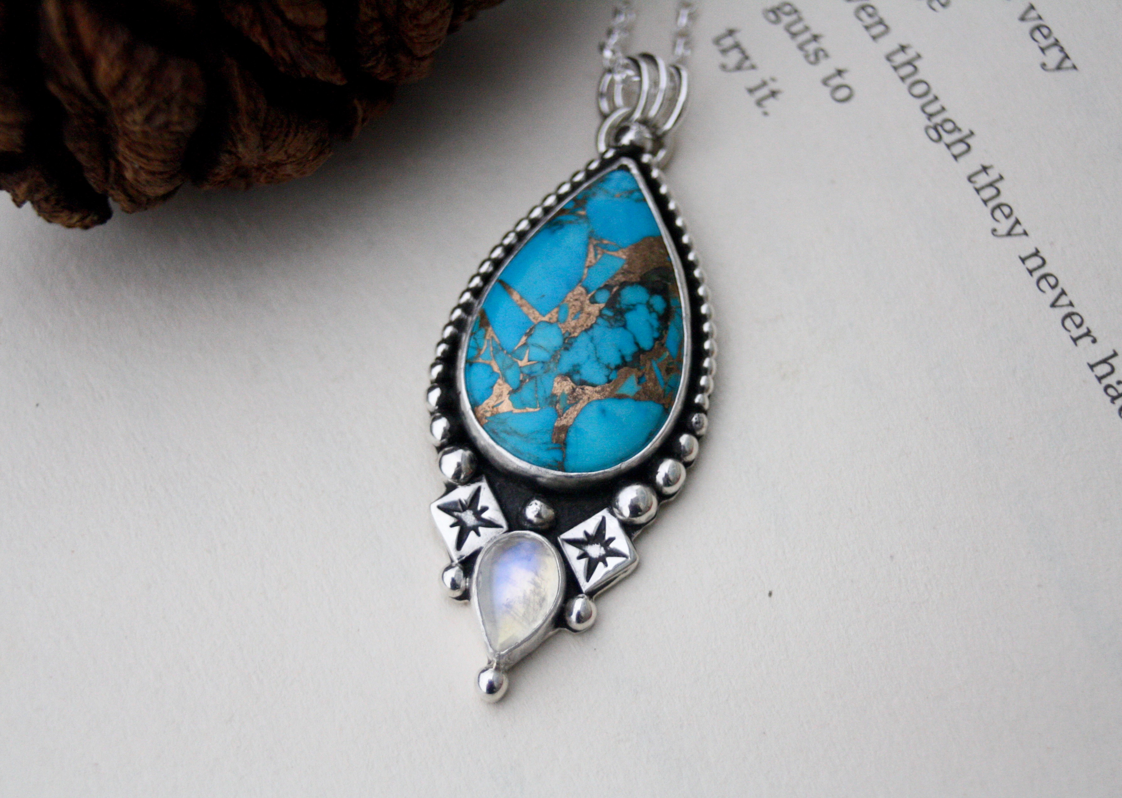 Kintsugi - Turquoise and Moonstone Necklace