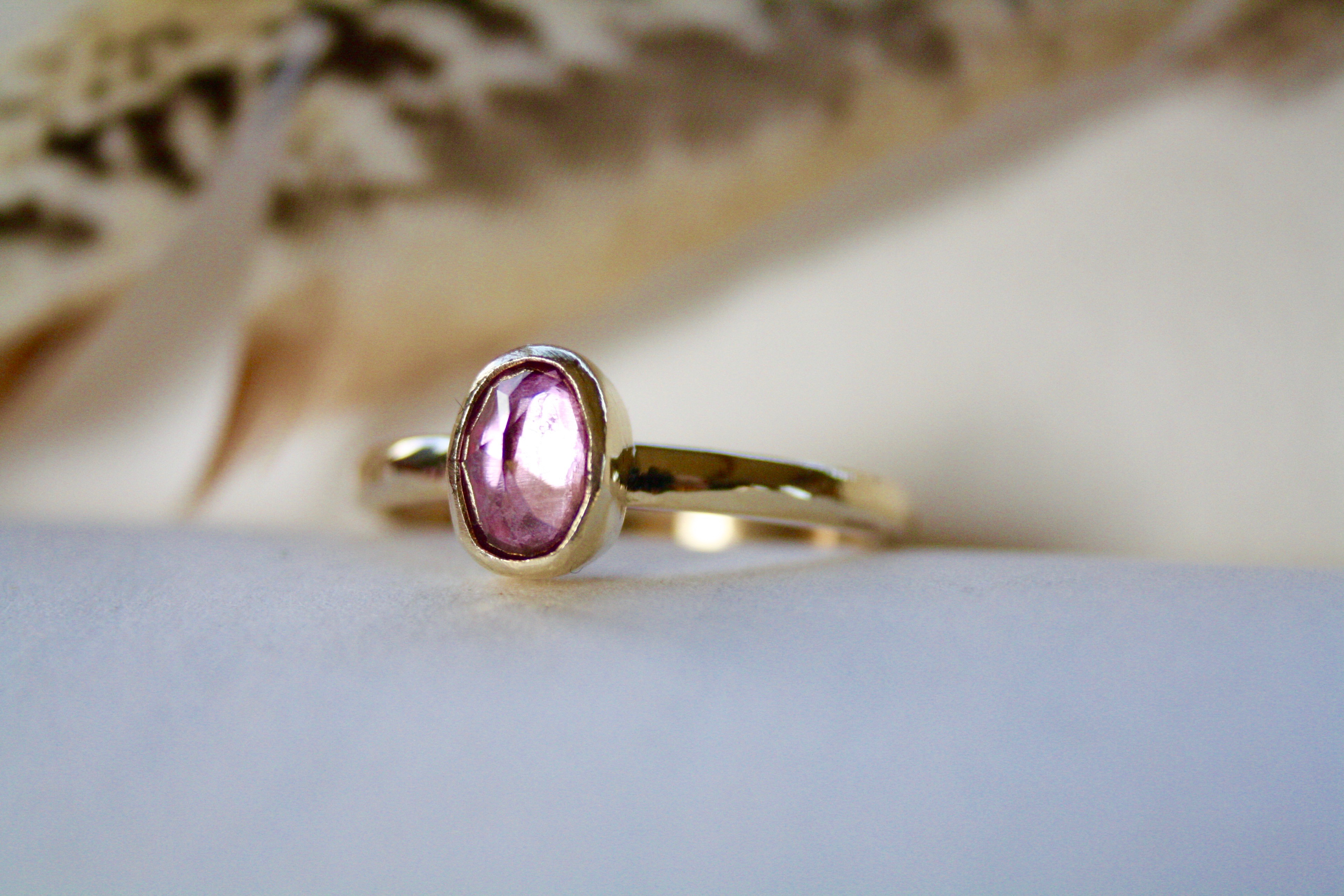 Pink Topaz - 9ct Gold Ring