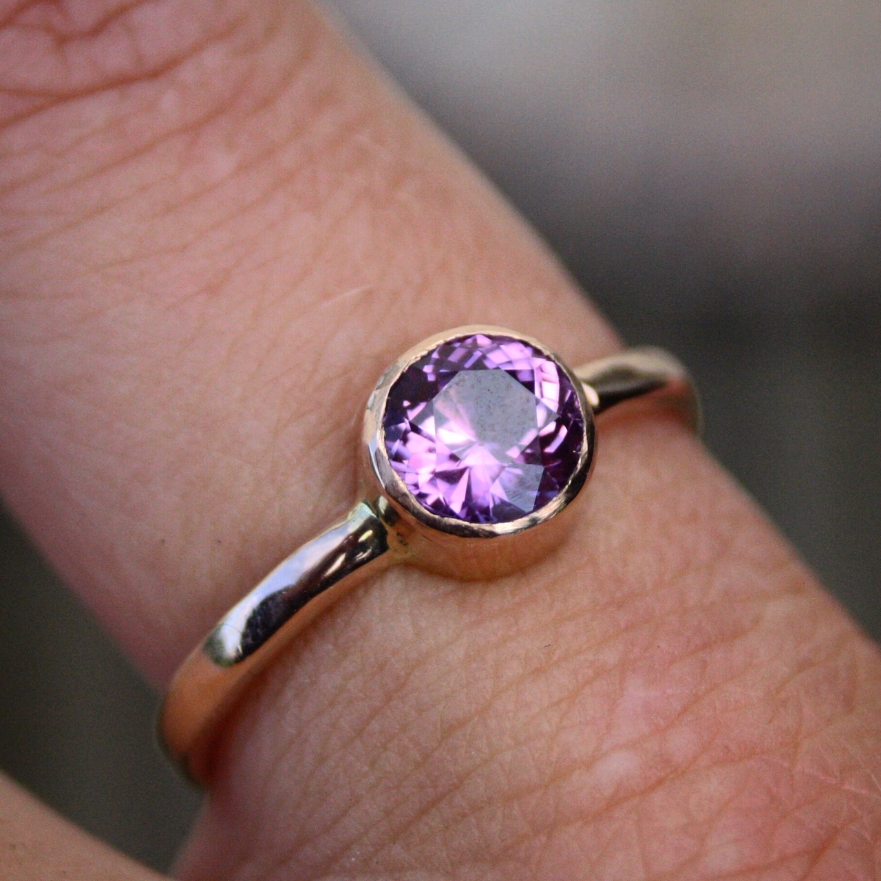 18ct Rose Gold Purple Sapphire Ring
