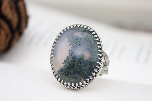 RECLAIMED - MOSS AGATE RING
