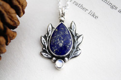 The Feather of Truth - Lapis Lazuli Sterling Silver Necklace