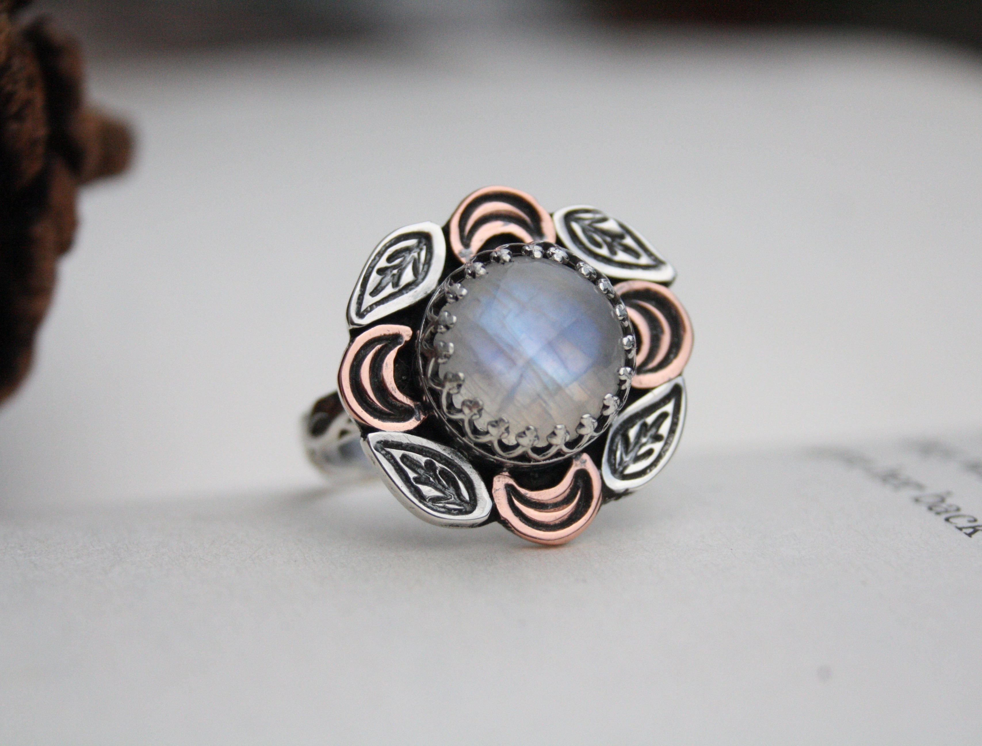 Reclaimed - Moonstone - Silver & Copper Ring