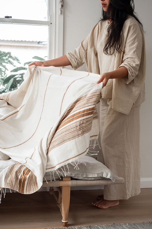 HAND LOOMED THROW - NATURAL/CLAY