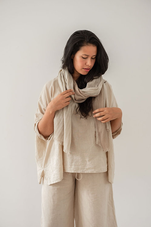 Double Layer Wool Scarf - Sandstone