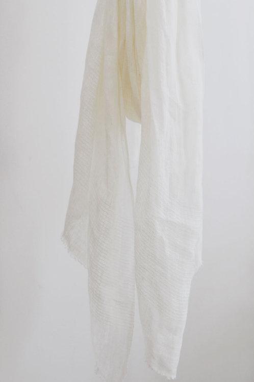 Signature Linen Scarf - White