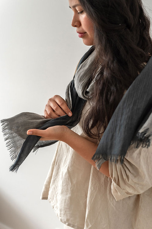 Double Layer Wool Scarf - River