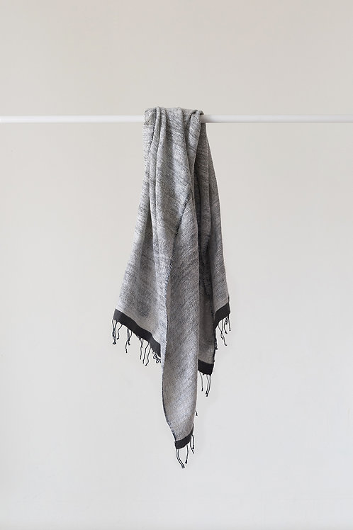 HAND SPUN SILK & COTTON SCARF - LUXE GREY