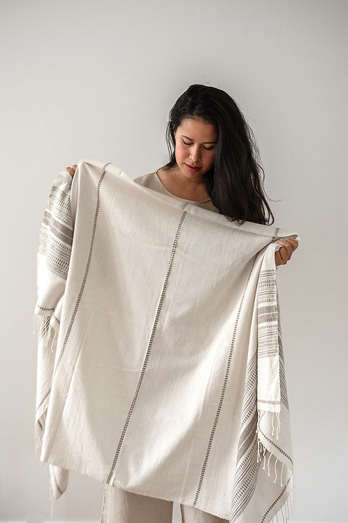 HAND LOOMED THROW - NATURAL/STONE