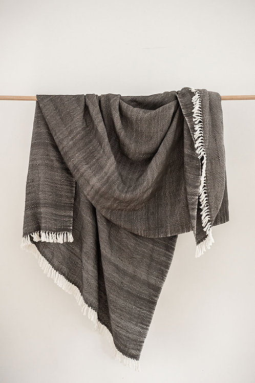 Hand Woven Blanket - Grey
