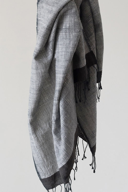 HAND SPUN COTTON BLANKET - PEWTER