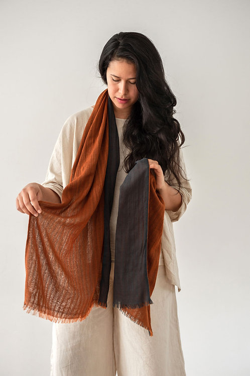 Double Layer Wool Scarf - Desert