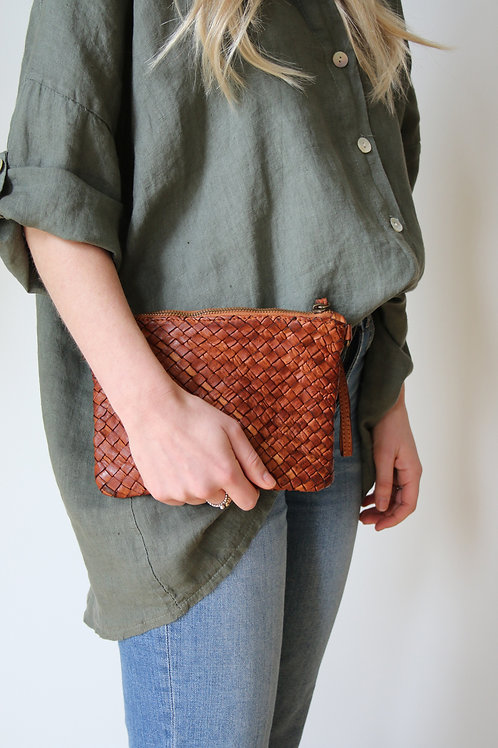WOVEN ITALIAN LEATHER BAG - TAN