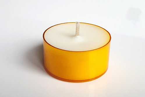 Orange Teelichter Sojawachs 6h bio plastik hülle rechaud kerze