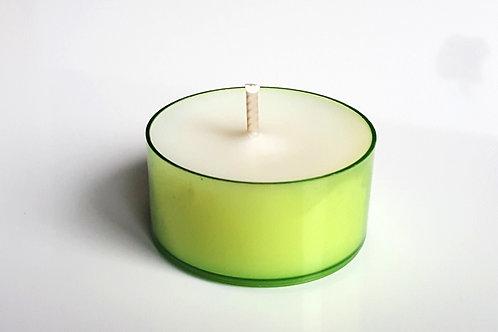 Grüne Bio Teelichter aus Soja Wachs ökologisch kerzen kaufen schweiz bern durchsichtig grün lange brenndauer