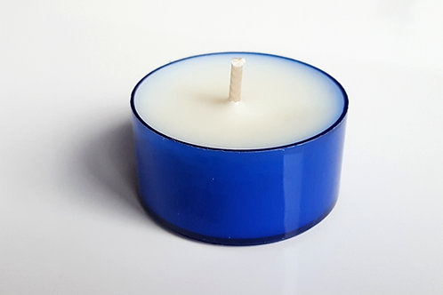 Blaue Bio Teelichter aus Soja Wachs ökologisch kerzen kaufen schweiz bern durchsichtig blau rechaud lange brenndauer
