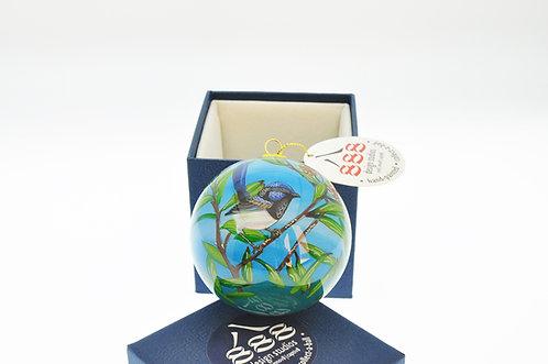 Blue Wren Glass Christmas tree ornament