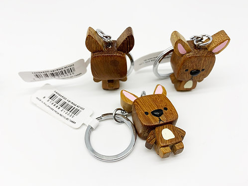 Cube Head Kangaroo Keychain (Eco-friendly), animal keyring