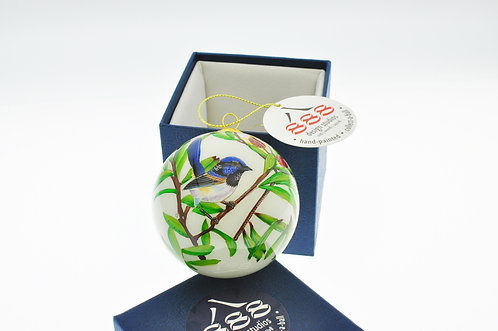 Glass Bauble, Blue Wren with white background