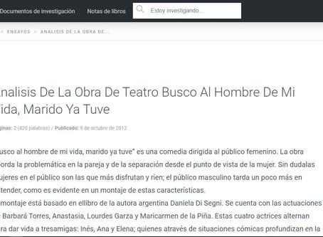 Analisis De La Obra De Teatro Busco Al Hombre De Mi Vida, Marido Ya Tuve