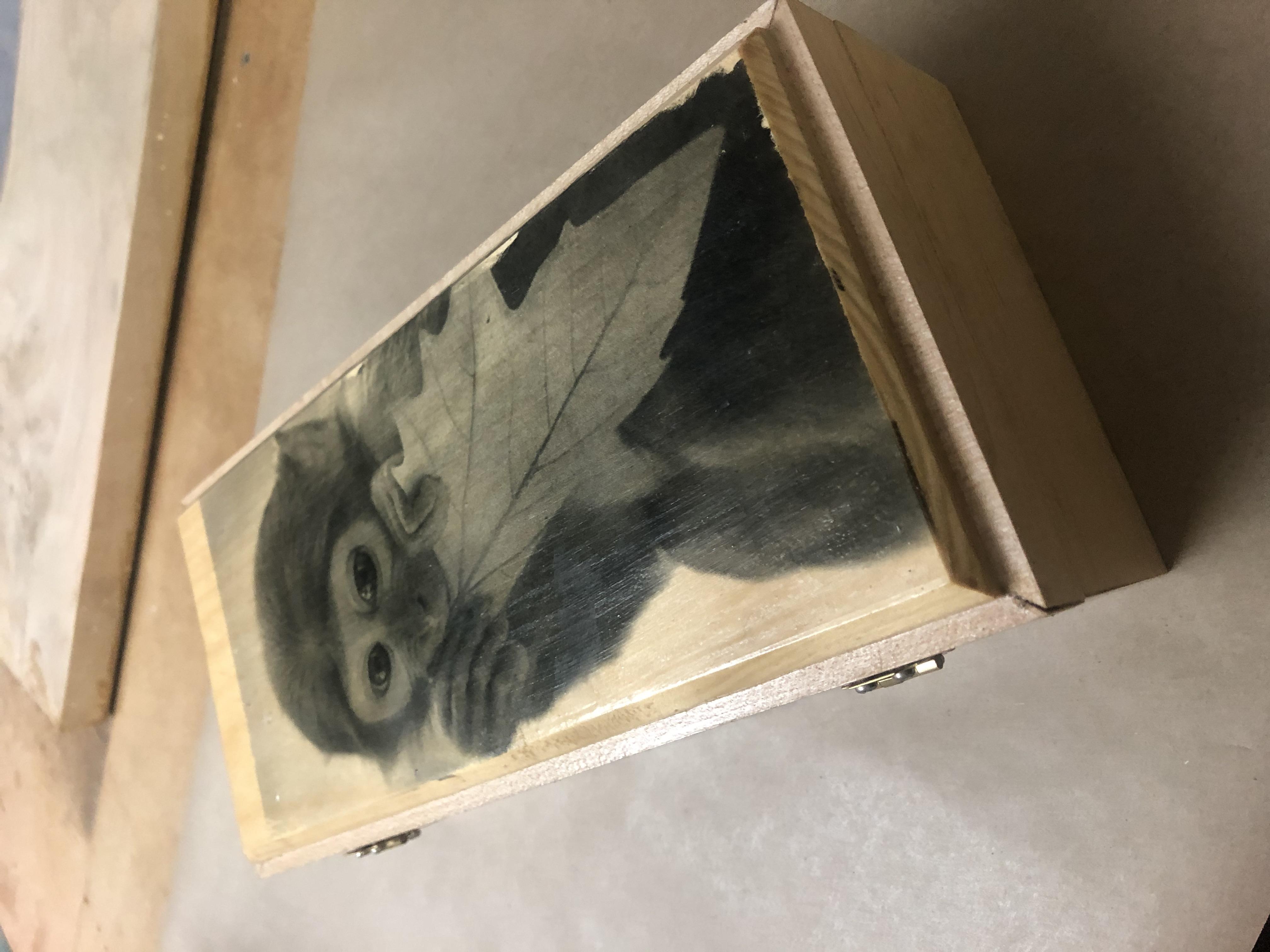 Box with monkey decoupage