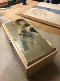Box with dog decoupage