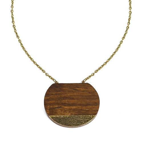 Handmade Wood & Gold Statement Necklace