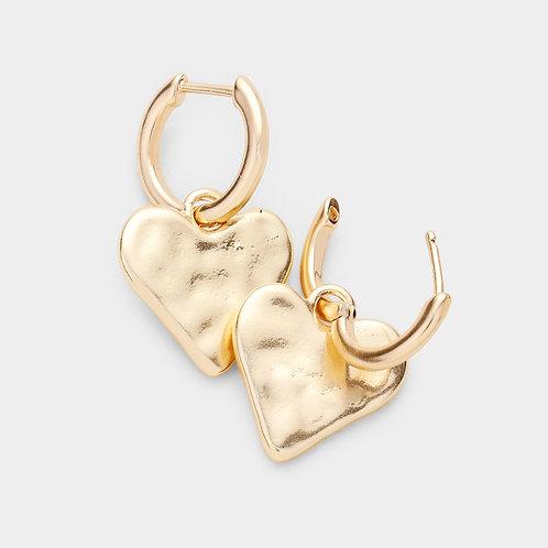 Hammered Metal Heart Earrings