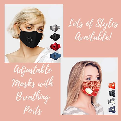 Adult Adjustable Masks with Breathing Port