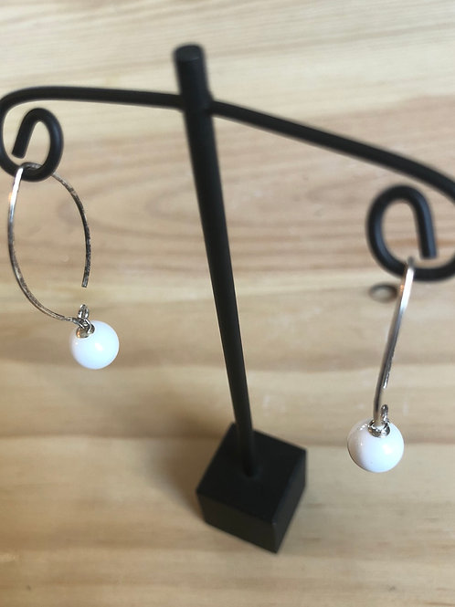 Sterling Silver Fishhook Gemstone Earrings