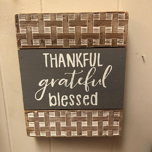 Thankful Grateful Blessed Wall Art
