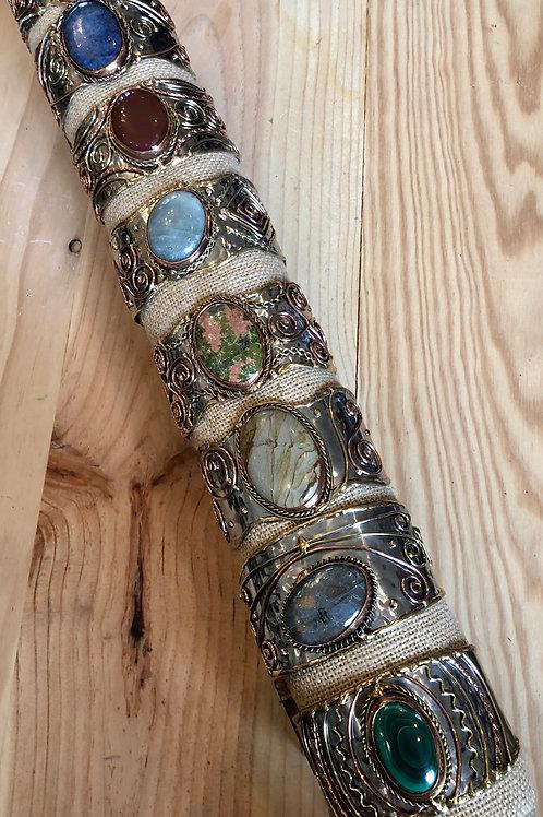 Genuine Gemstone Metal Cuff Bracelets