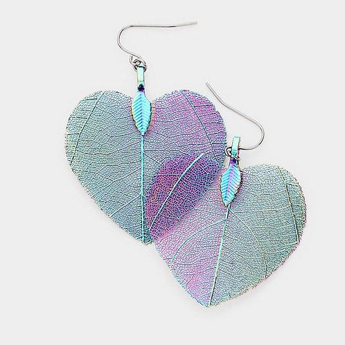Sterling Silver Heart Textured Leaf Earrings