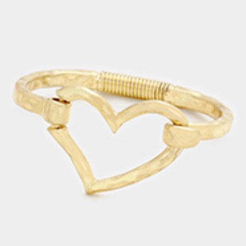 Hammered Gold Coated Heart Bracelet