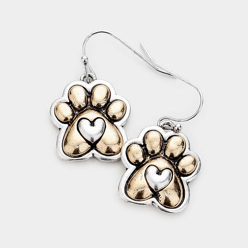 Paw Print Metal Earrings