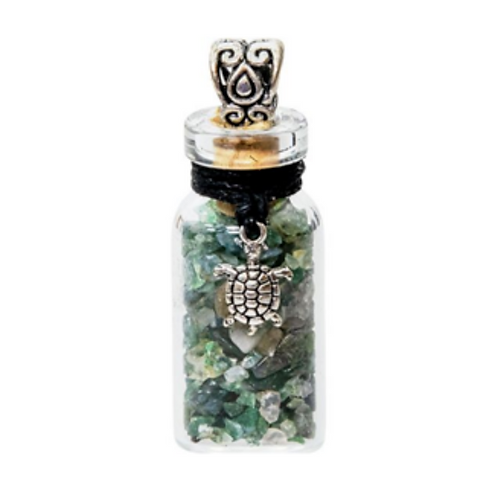 Gemstone Turtle Bottle Necklace