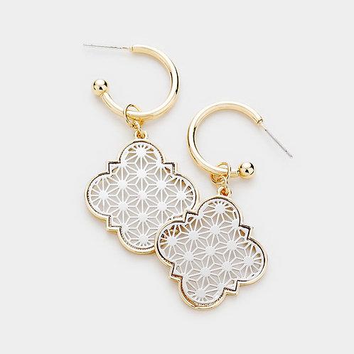 Moroccan Filigree Metal Dangle Earrings