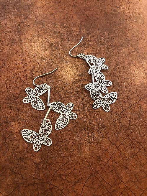 Triple Cut Out Metal Butterfly Link Dangle Earrings