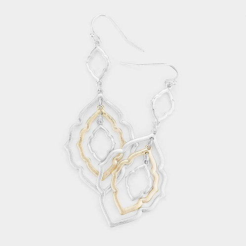 Two Tone Layered Metal Quatrefoil Earrings