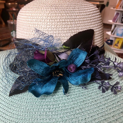 Two Tone Wide Brim Straw Hat