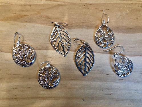 Natural Filigree Sterling Silver Earrings
