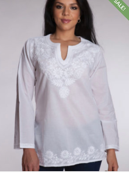 White Cotton Embroidered Top