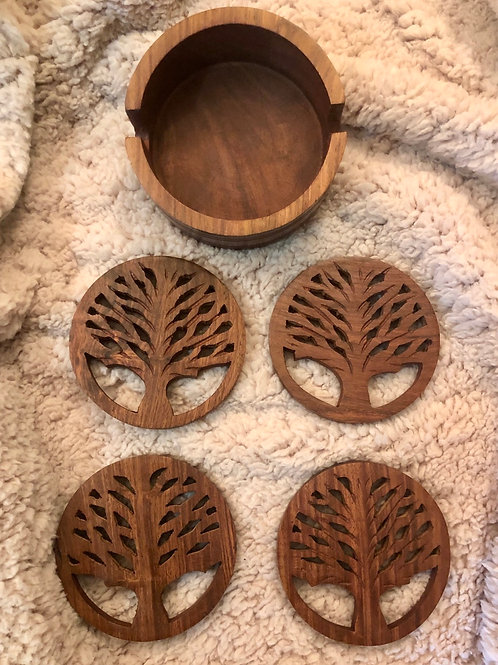 Hand Carved Tree of Life Coasters