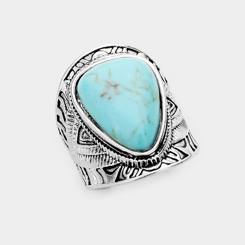Turquoise Stone Antique Metal Open Ring